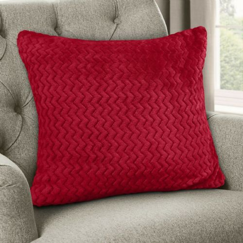 Large Luxury Chevron Zig Zag Super Soft Velvet Plush Scatter Cushion Plain Red 56cm x 56cm